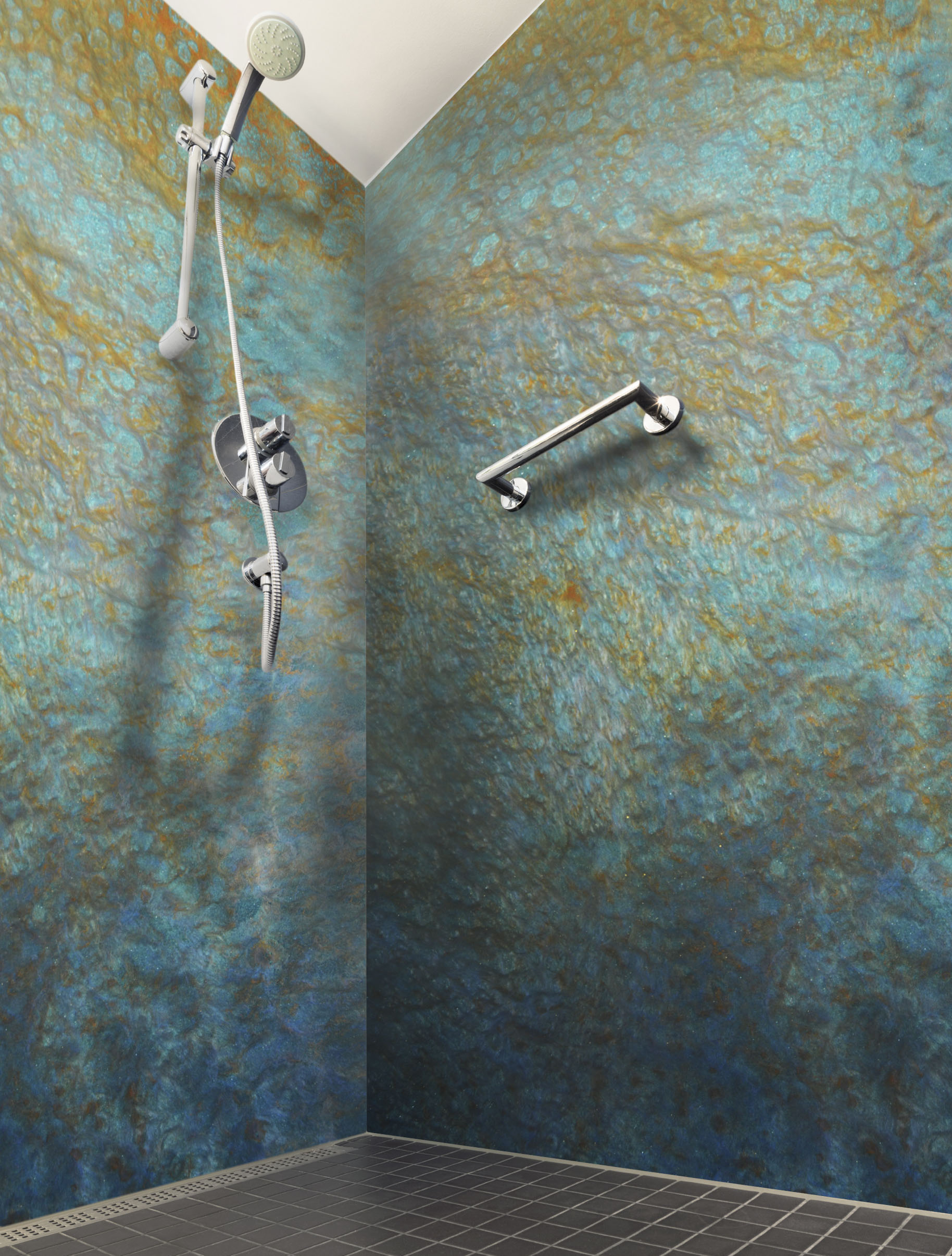 Epoxy Shower Grout : Shower walls built from epoxy poured over panels